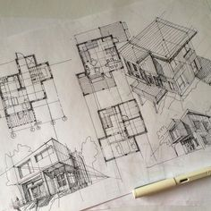 Small project on Saturday morning. | By Evgeny Krasnov (KrasnoV) [Architecture - Art - Drawing - Sketch - Perspective - Ink]