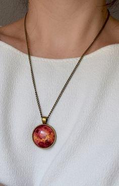 Planet Venus necklace, Venus pendant, Orange planet necklace, Solar system jewelry, Universe planet pendant, Astronomy necklace