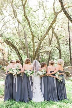 Charcoal gray bridesmaid dresses: Earth tone bridesmaid dresses:
