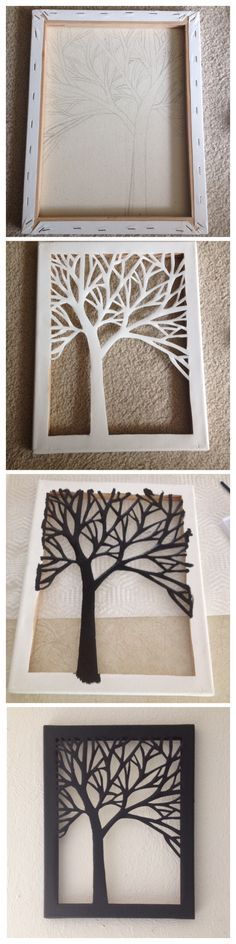 Sillouhette cut-out of a tree on canvas