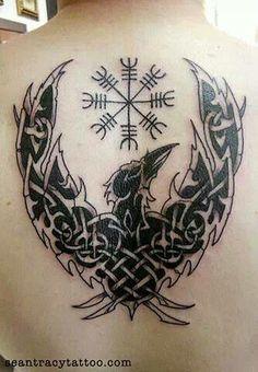 raven / viking compass  tattoo