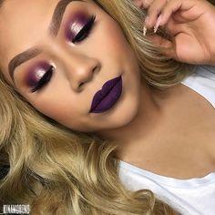 @makeupgeekcosmetics single eyeshadows in Chickadee + Cocoa Bear + @morphebrushes Purple shadow from 35B Palette + @colourpopcosmetics 'Get Lucky' & 'Cheap Date' Lips   @colouredraine 'Raine Fever' liquid lipstick'