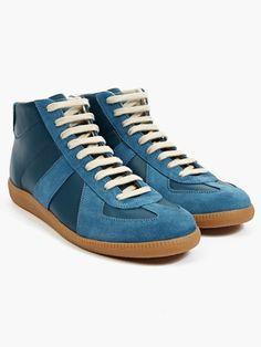 Maison Martin Margiela 22 Men's Blue Leather and Suede Hi-Top Sneakers | oki-ni