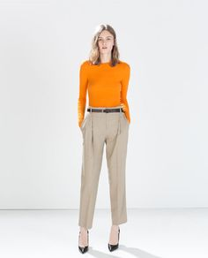 Image 1 of HIGH WAISTED TROUSERS WITH BELT from Zara