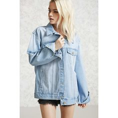 Forever21 Button-Front Denim Jacket ($33) ❤ liked on Polyvore featuring outerwear, jackets, light denim, long jean jacket, forever 21 jackets, jean jacket, blue jackets and blue jean jacket