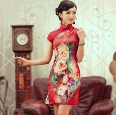 $112.00   Red Short Wedding Cheongsam Women's Collar Floral Silk Qipao