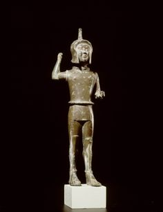 Etruscan warrior-god Laran made from bronze. Found in Italy. Middle Archaic Period, 540-520 BC. Source: Leiden Museum of Antiquities
