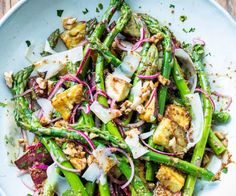 Asparagus, kumara, walnut and parmesan salad - Nadia Lim Salad Recipes Nz, Healthy Recipes, Diabetic Recipes, Lunch Recipes, Appetizer Recipes, Diet Recipes, Vegetarian Recipes, Asparagus Salad, Asparagus Recipe