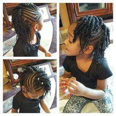 Side braids and 2 strand twist