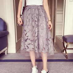 Elastic waist Lace flower length skirt 2016 new spring Water soluble lace yarn elastic waist skirt fight girls skirt Calf skirt-in Skirts from Women's Clothing & Accessories on Aliexpress.com | Alibaba Group