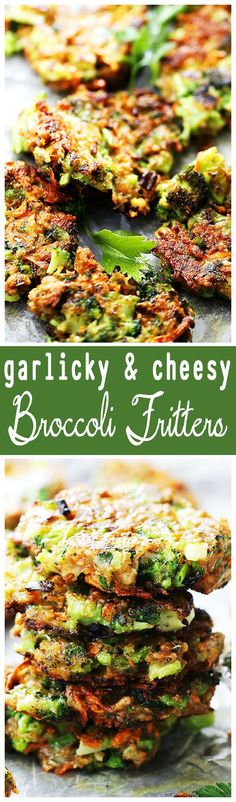 Garlicky and Cheesy Broccoli Fritters - Delicious and crispy fritters loaded…