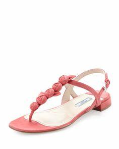 X1Y5F Prada Suede Rose Thong Sandal, Pink