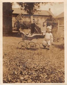 Photograph Snapshot Vintage Black and White: Baby Girl Buggy Yard Cute 1920's