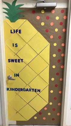 Life is sweet in kindergarten pineapple classroom door - Decoration For Home Kindergarten Classroom Door, Classroom Bulletin Boards, New Classroom, Preschool Classroom Themes, Classroom Ideas, Classroom Crafts, Teacher Doors, School Doors, Classroom Inspiration