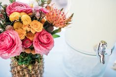Pineapple floral arrangement from a Party Like a Pineapple Tropical Birthday Party on Kara's Party Ideas | KarasPartyIdeas.com (11)