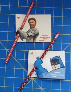 Last minute Valentines: Just print, cut 2 slits, and slide a pencil through! Love it! (I wonder what other geeky designs you could use this idea for? Must brainstorm! Little Valentine, Valentines For Boys, Valentine Day Crafts, Happy Valentines Day, Valentine Party, Valentine Ideas, Batman Valentine, Printable Valentine, Valentine Special