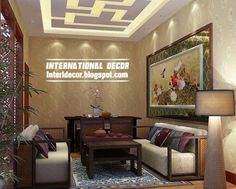 False ceiling with lights for small living room hanging arts