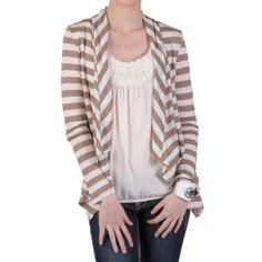 Hailey Jeans Co Womens Long-sleeve Open Front Striped Cardigan Hailey Jeans Co.. $14.99