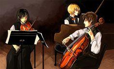 Mikasa on violin, Eren on cello, Armin on piano. Perfect!