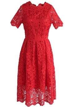 Floral Holiday Crochet Dress in Red- New Arrivals - Retro, Indie and Unique Fashion