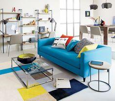The comfortable blue movie sofa