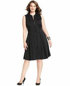 Alfani Plus Size Dress, Sleeveless Zip-Front A-Line - Plus Size Dresses - Plus Sizes - Macy's