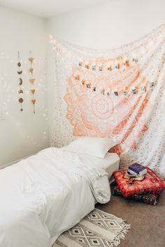 Lady Scorpio | @Ladyscorpio101 ☽☽ ladyscorpio101.com ☆ Perfect Bedroom Decor for the Hippie at heart ♡ Alexa Halladay designing a Boho Bungalow - Light Pastel Pink Tapestry with Copper Fairy Lights! Including Moon Phase Wall Hangings! Polaroid Photos & clips from Camera