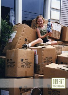 A young Mattie helping unpack great finds from Asia! #orientexpressed #generations