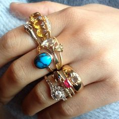 Antique and Rebecca Overmann Rings at Metier