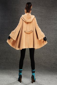 brown capes  winter cape Wool blend jacket(155). $139.00, via Etsy.