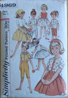 Vintage Sewing Pattern Simplicity 4969 // Girl's One-piece Dress, Pants, Blouse, Top and Scarf // size 2