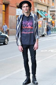 NYC by Monsieur Jerome. Luca (21 - student) wears vintage Shirt and T-shirt, Pants by Cheap Monday, Shoes by Doc Martens
