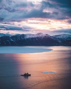 """mrbenbrown: """"Arctic sunset helicopter mission  that (relatively) little ship was home for 18 days ⚓️ The fist Arctic vlog will be up tonight, link in bio! #GeneratorArctic #Sunset #Greenland http://ift.tt/2cLiMeq """""""