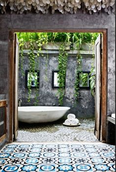 Tropical Paradise Open Air Bathroom in Bali. ...unbelievably beautiful,  so this is how the other half lives. ..