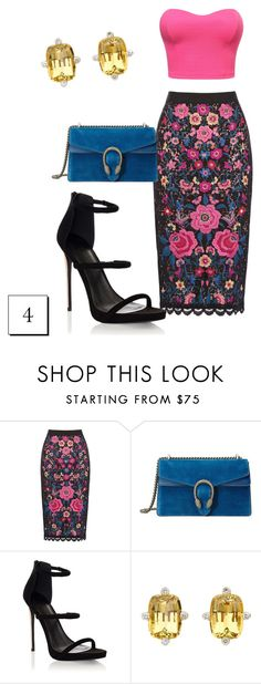 """""""Estampado #4"""" by sofiabogard ❤ liked on Polyvore featuring Gucci, Lipsy and David Precious Gems"""