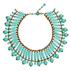 c.1940's Rare and stunning early Miriam Haskell Necklace in Faux Turquoise Glass and Gilt Metal Festoon Necklace in beautiful vintage condition.