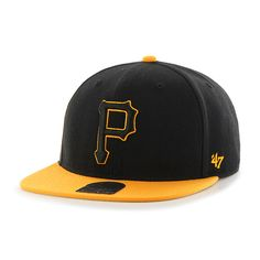 the latest 60bc5 59728 Pittsburgh Pirates No Shot Two Tone Captain Black 47 Brand Adjustable Hat