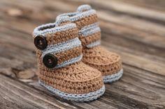Baby Boys Crochet Pattern Baby Boy Booties Kohl by Inventorium