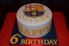 Barcelona FC birthday cake with vanilla layers coloured to match the away kit Barcelona Party, Fc Barcelona, Soccer Cake, Soccer Party, Cakes For Boys, Boy Cakes, Boy Birthday, Birthday Cake, Cupcake Cookies