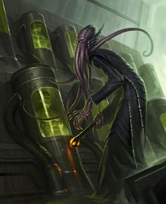 D&D mind flayer or a descendant of Cthulhu in the lab? Cthulhu, Dark Fantasy, Fantasy Rpg, Fantasy Monster, Monster Art, Hp Lovecraft, O Kraken, Mind Flayer, Cyberpunk