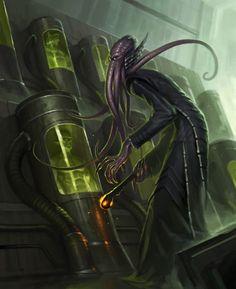 D&D mind flayer or a descendant of Cthulhu in the lab? Cthulhu, Dark Fantasy, Fantasy Rpg, Fantasy Monster, Monster Art, Hp Lovecraft, Rpg Pathfinder, Mind Flayer, Cyberpunk