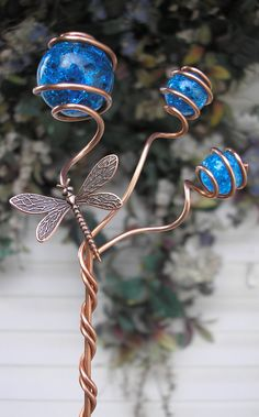 Dragonfly/Butterfly Garden Plant Stake  Metal Sculpture