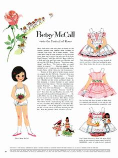 Betsy McCall Paper Dolls - 1960 I couldn't wait for the monthly mc Calls to come in the mail so I could cut out the paper doll