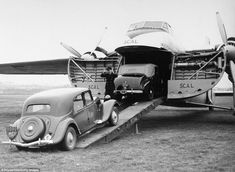 A Citroën Traction Avant on the ramp of a Silver City Airways freighter, one of over 200 such aircraft manufactured by Bristol Aeroplane Company of the UK from Some of the iconic front-wheel-drive Citroëns were built from 1934 to [jamezorlando] Psa Peugeot Citroen, Citroen Car, Manx, Classic Mini, Classic Cars, Vintage Cars, Antique Cars, Vintage Ideas, Automobile
