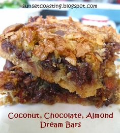 Sunset Coast: A Conglomeration of Coconut Concoctions and Confections-Coconut, chocolate, almond dream bars