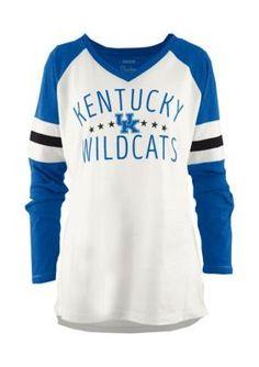 Royce Kentucky Wildcats Pomona Raglan Long Sleeve Tee Shirt - Ivory/Royal