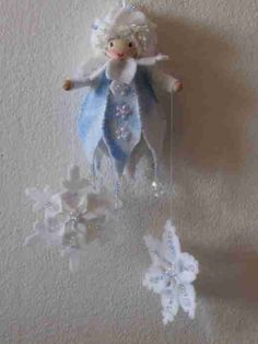 Visual Inspiration: Eiszapfenhänger (Literal translation: Icicles Hanger.) Angel. Embellished with faux jewels. Clothes made of felt. Love those hands.