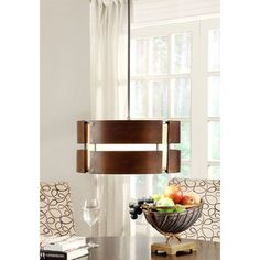 Schoolhouse Curved Wood 3-light Medium Walnut Pendant | Overstock.com Shopping - Great Deals on Chandeliers  Pendants