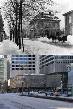 https://flic.kr/p/qGthxd | Vers 1870-2015 | Une vue du boulevard René-Lévesque à l'angle de la rue University  Le terrain situé à l'angle nord-ouest du boulevard René-Lévesque et de la rue University est reconnu depuis près de 50 ans comme étant le point central du Montréal souterrain. La construction de la Place Ville-Marie, exemple percutant de l'ascension de la ville à l'ère de la modernité, a entraîné en 1961 la démolition de l'édifice du Club St-James, érigé sur ce site en 1864…