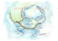Maryland blue crab fishing whimsical abstract crabbing beach blue fantasy decor fine art picture chesapeake delaware kitchen watercolor